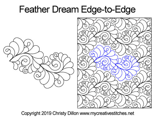 Feather dream edge-to-edge quilt pattern