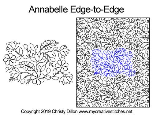 Annabelle edge to edge digital quilt designs