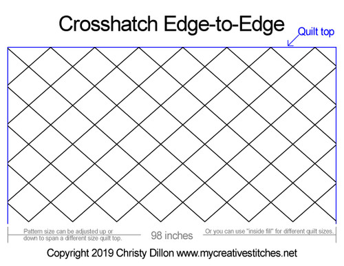 Crosshatch edge to edge quilting design