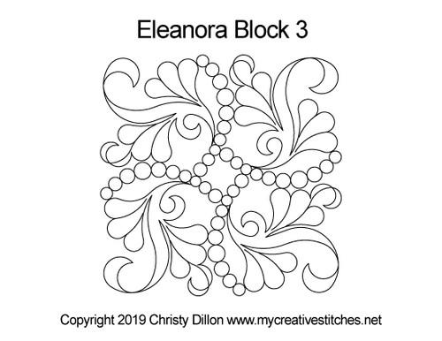 Eleanora digitized quilting design for block 3