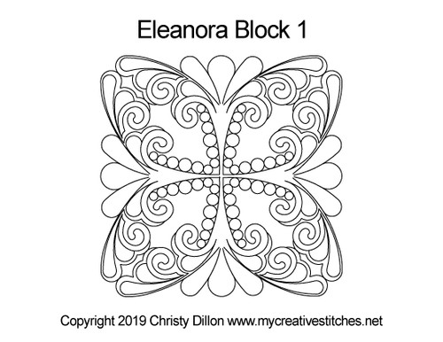 Eleanora digitized block 1 quilting design