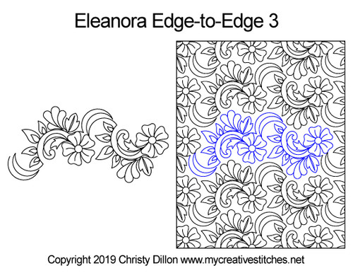 Eleanora edge to edge 3 digital quilting pattern