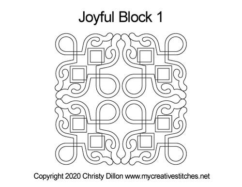 Joyful quilting design for blocks