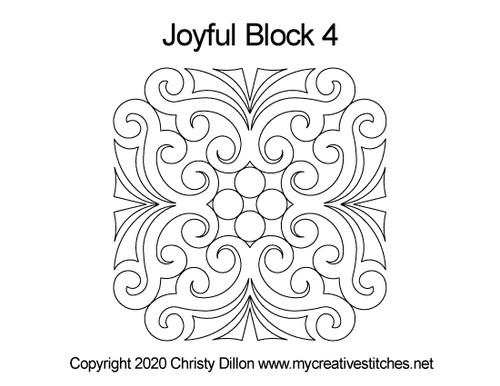 Joyful block 4 quilting designs