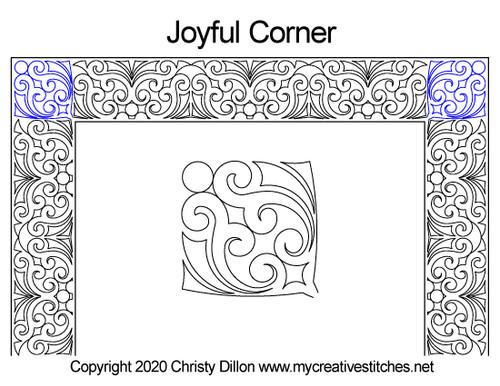 Joyful computerized corner quilting
