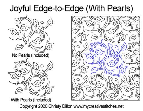 Joyful edge-to-edge with pearls quilt design