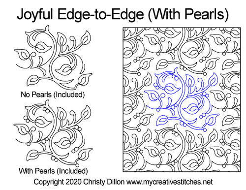 Joyful edge-to-edge with pearls quilt design