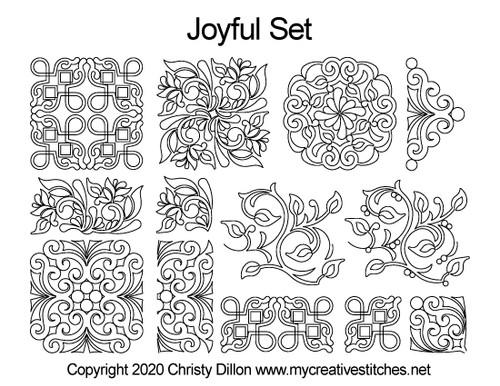 Joyful set quilting patterns