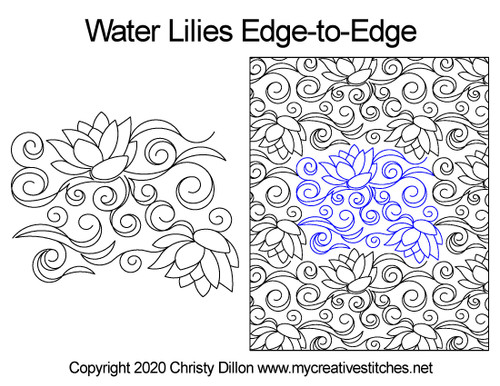 Water lilies edge to edge designs