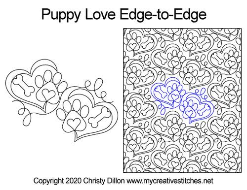 Puppy love edge to edge digital quilt pattern