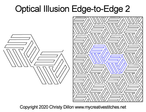 Optical illusion edge-to-edge 2 quilting design