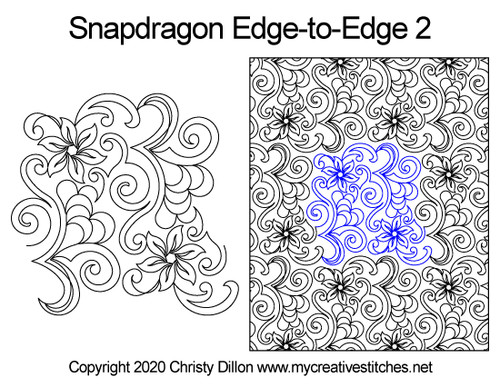 Snapdragon edge to edge 2 quilt patterns