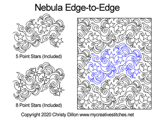 Nebula edge to edge digitized quilting