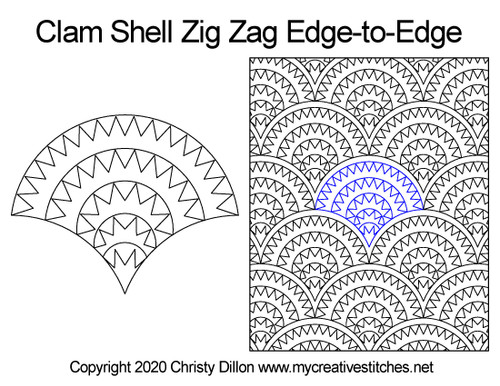 Clam shell zig zag edge to edge quilt patterns