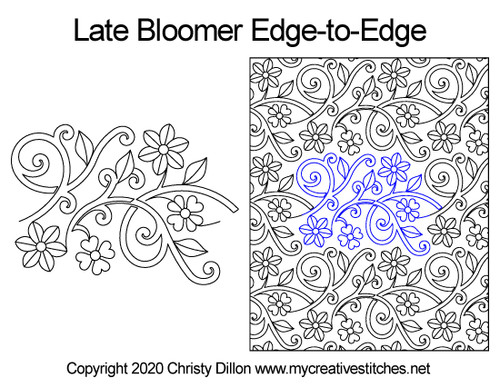 Late bloomer edge-to-edge quilting design