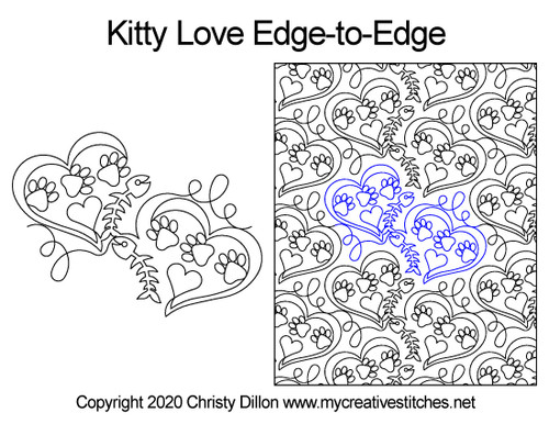 Kitty love edge-to-edge quilt pattern
