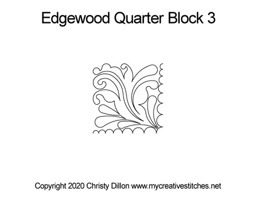 Edgewood quarter quilting design for block 3