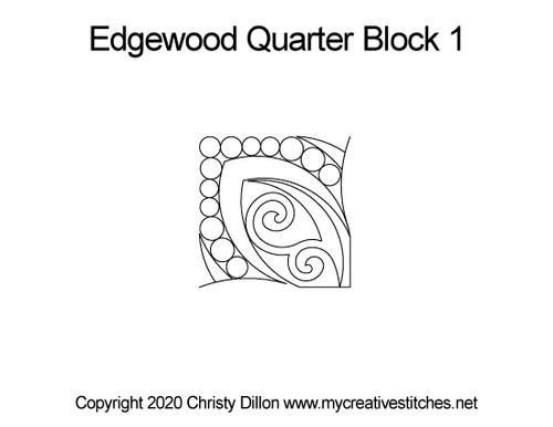 Edgewood quarter block 1 quilting design