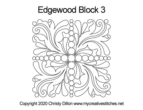 Edgewood quilting patterns for block 3