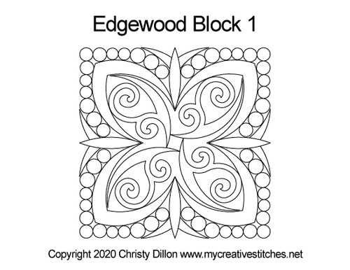 Edgewood quilting patterns for block 1