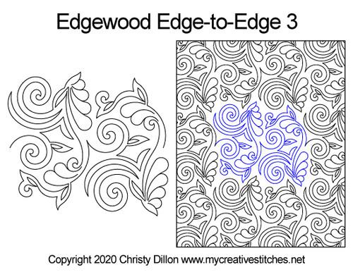 Edgewood edge to edge 3 longarm quilting patterns