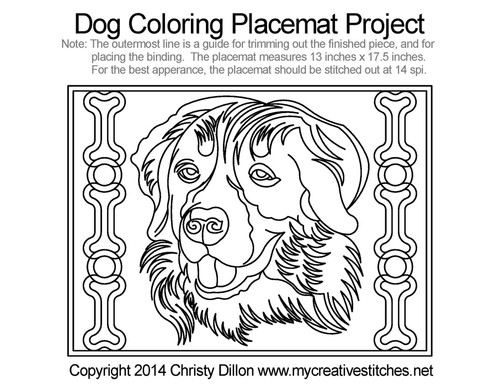 Dog coloring free placemat quilting project