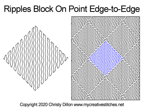 Ripples block on point edge-to-edge quilt pattern