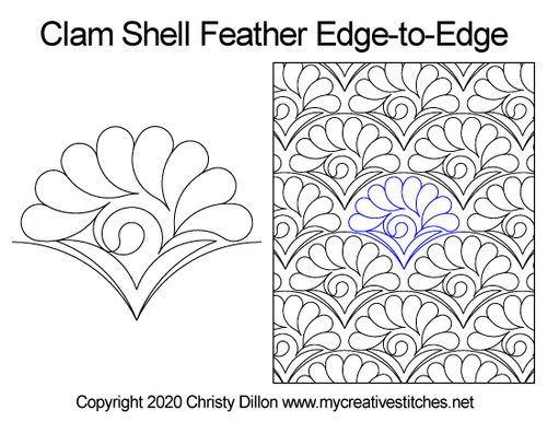 Clam shell feather edge-to-edge quilt pattern