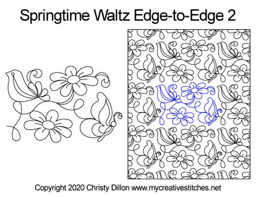Springtime waltz edge-to-edge 2 quilt pattern