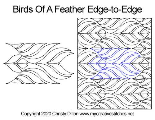 Birds of a feather edge-to-edge quilt pattern