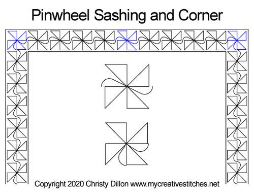 Pinwheel sashing & corner quilt design