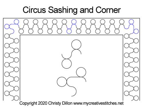 Circus sashing & corner quilt design