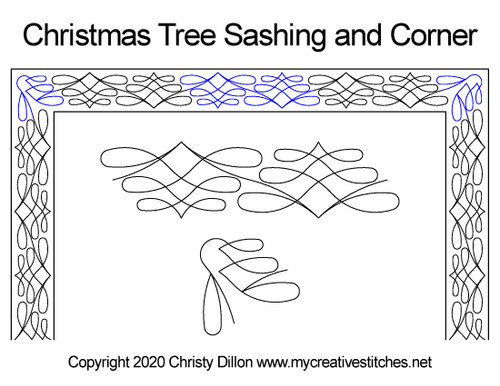 Christmas tree sashing & corner quilt design