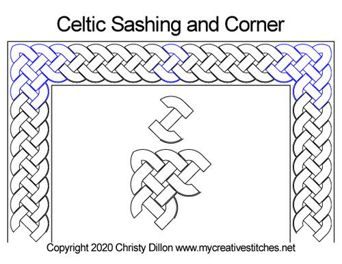 Celtic sashing & corner quilt design
