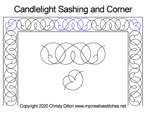 Candlelight sashing & corner quilt design