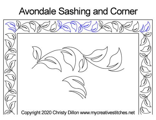 Avondale sashing & corner quilt design