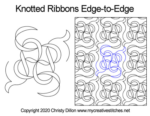 Knotted ribbons edge-to-edge quilt pattern