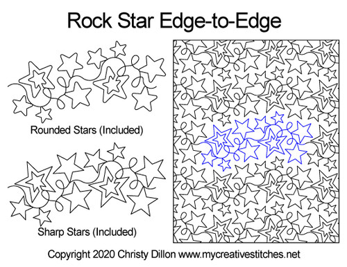 Rock star edge-to-edge quilt pattern