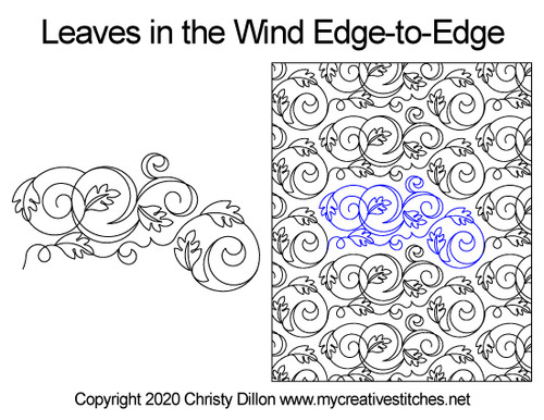 Leaves in the wind edge-to-edge quilt pattern