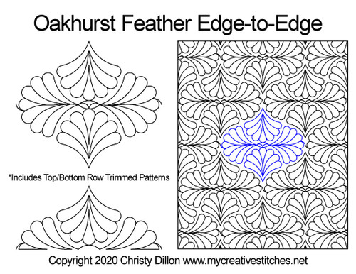 Oakhurst feather edge-to-edge quilt pattern