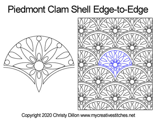 Piedmont clam shell edge-to-edge quilt pattern