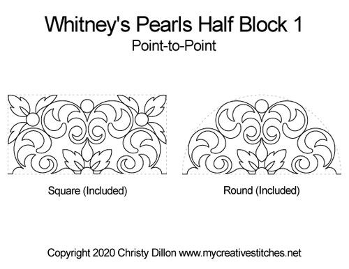 Whitney's pearls half block quilt pattern point-to-point