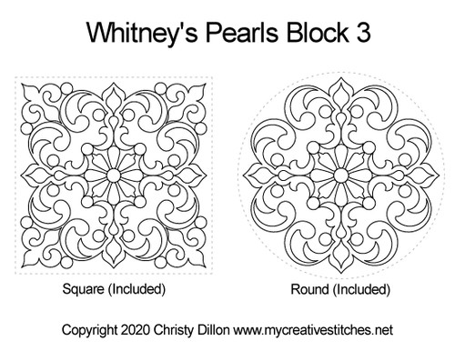 Whitney's pearls block quilt pattern