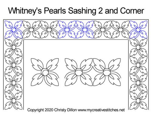 Whitney's pearls sashing and corner quilt patterns