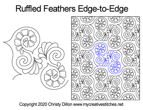 Ruffled feathers edge-to-edge quilt pattern