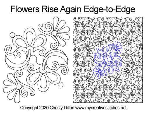 Flowers rise again edge-to-edge quilt pattern