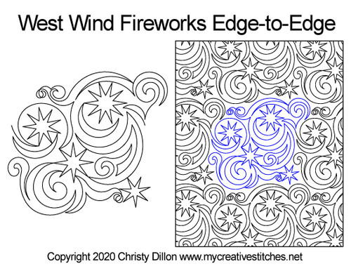 West wind fireworks edge-to-edge quilt pattern