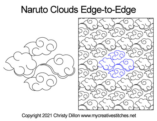 Naruto clouds edge-to-edge quilt pattern