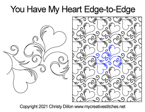 You have my heart edge-to-edge quilt pattern