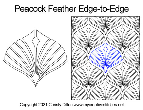 Peacock feather edge-to-edge quilt pattern